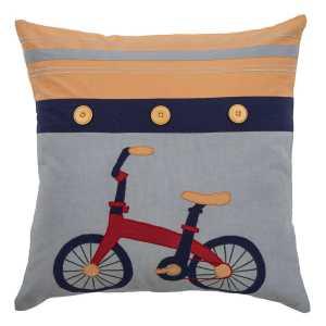 Rizzy Home Bike Yellow Cotton 18 x 18 Filled Throw Pillow