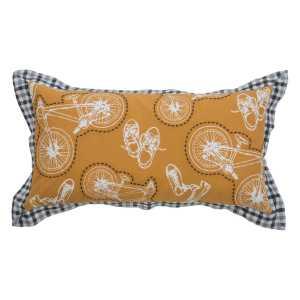"""Rizzy Home Bikes Yellow Cotton 11"""" x 21"""" Filled Throw Pillow"""