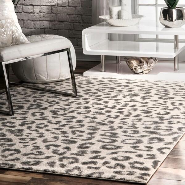 Shop NuLOOM Modern Grey Leopard Spotted Rug 9 X 12