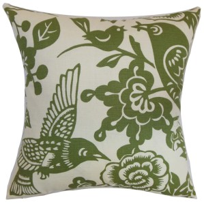 "Campeche Floral 22"" x 22"" Down Feather Throw Pillow Moss"