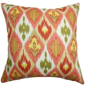 Bechet Ikat 22-inch Down Feather Throw Pillow Pink Yellow