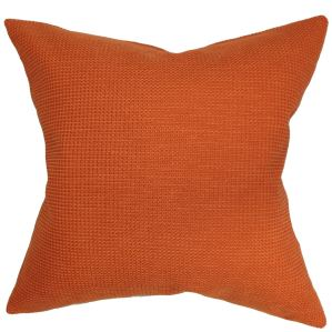 Gumamela Solid 22-inch Down Feather Throw Pillow Papaya