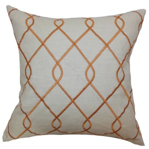 Jolo Geometric 22-inch Down Feather Throw Pillow Papaya