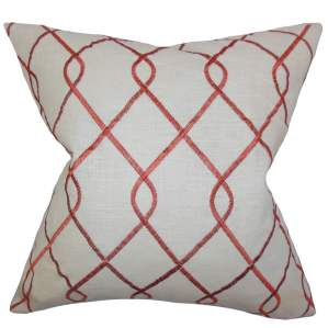 Jolo Geometric 22-inch Down Feather Throw Pillow Rosewood
