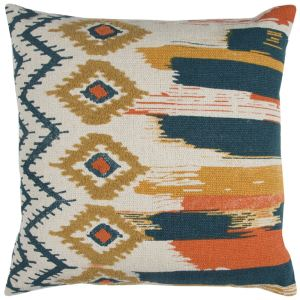 Rizzy Home Natural Abstract Stripe Cotton 20-inch Square Throw Pillow