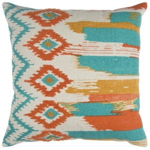 Rizzy Home Abstract Stripe Natural Multicolor Cotton 20-inch Square Throw Pillow