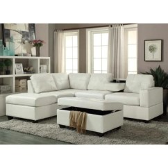White Leather Sectional Sofa With Ottoman Red Accent Pillows For Shop Pu And Set On Sale Free Shipping Today Overstock Com 14352870