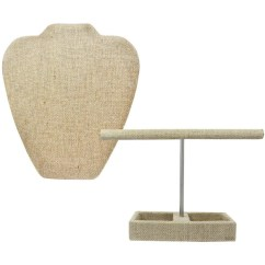 Mannequin Chair Stand How High To Install Rail Molding Shop Ikee Design Linen T Bar Jewelry Hanger Organizer And Necklace Display With Easel For