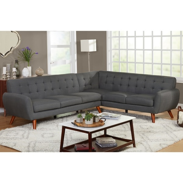 gray sectional sofa for sale morty chenille bed with right chaise brown shop simple living livingston mid-century tufted l-shaped ...