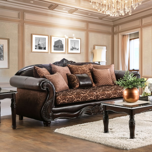leather and chenille sofa laura ashley winchester covers shop furniture of america besser traditional fabric brown