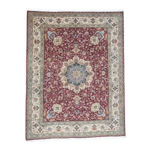 Shahbanu Rugs Persian Tabriz 400 Kpsi Wool and Silk Handmade Oriental Rug