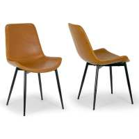 Shop Alary Caramel Brown Faux Leather Modern Dining Chair ...
