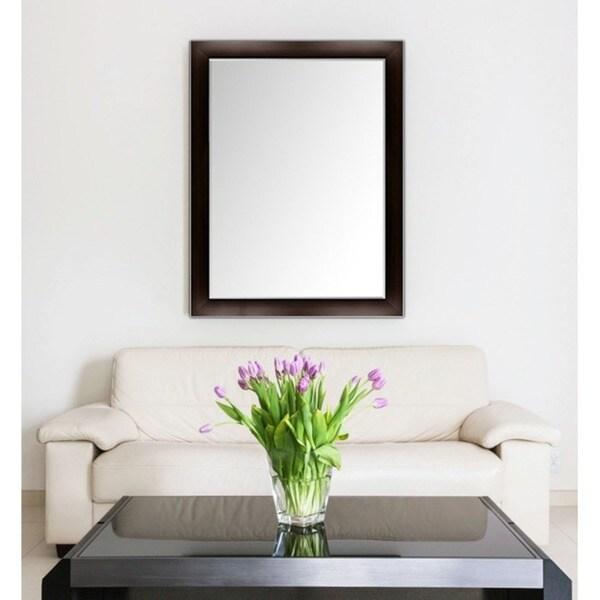 Espresso Framed Mirror Bathroom  Smartvradarcom