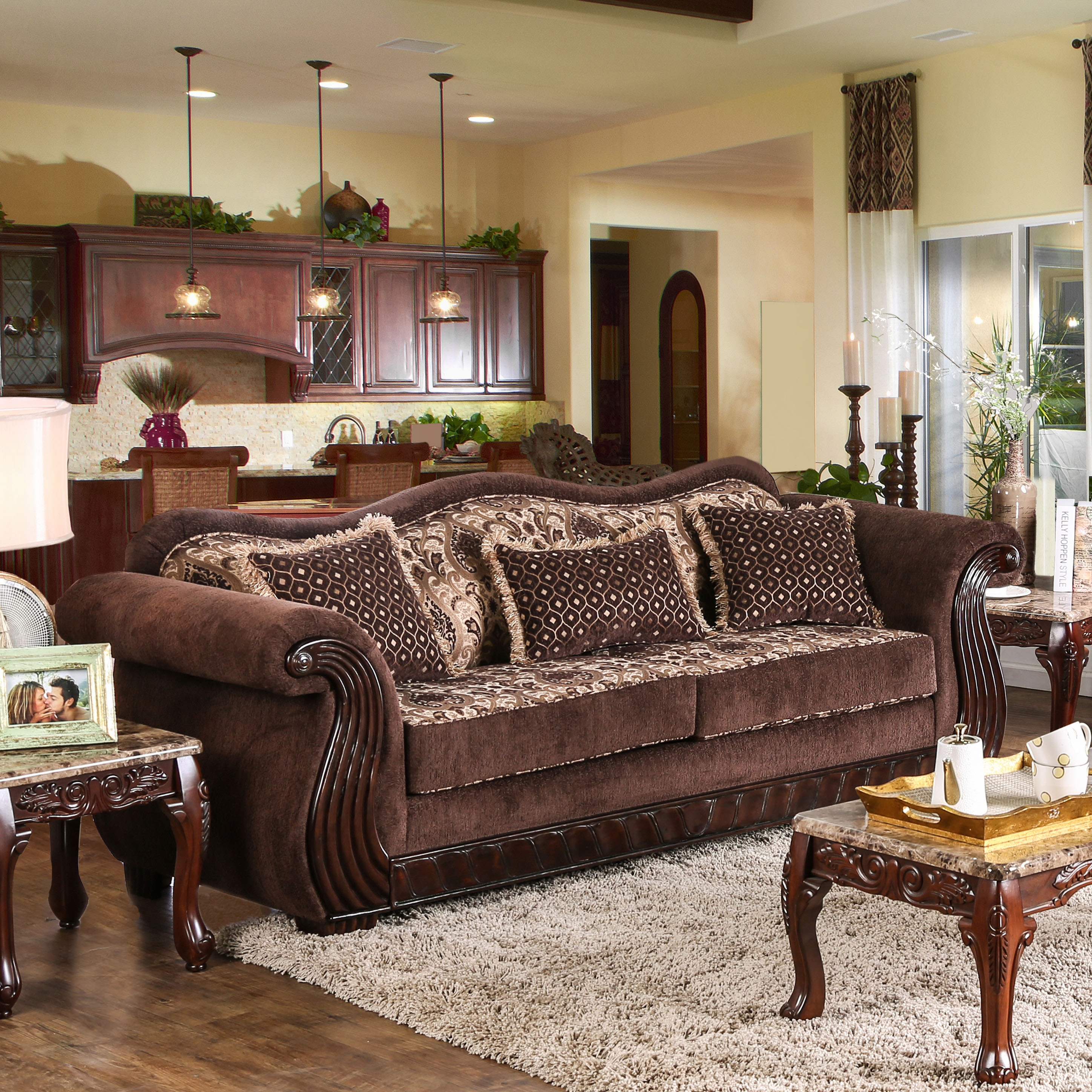 colonial sofa sets good in pune chenille fabric furniture of america hazlet brown