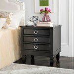 Safavieh Kira Three Drawer Black Black Night Stand