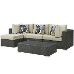 Lexmod Monterey Outdoor Wicker Rattan Sectional Sofa Set Gus Modern James Sleeper Aluminum Modway Sofas Chairs Sectionals For Less Overstock Sojourn 5 Piece Patio Sunbrella