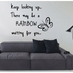 Rainbow Waiting For You Words Vinyl Sticker Home Decor Art Wall Decor Nursery Room Decor Sticker Decal size 33x33 Color Black