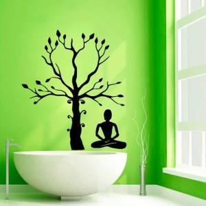 Tree Stickers Girl Meditation Spa Bathroom Decor Vinyl Stickers Home Art Wall Decor Sticker Decal size 33x33 Color Black