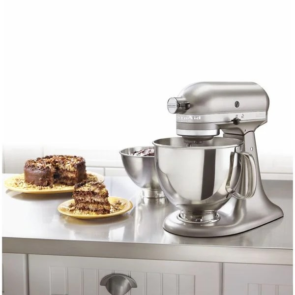 silver kitchen aid office table and chairs shop kitchenaid ksm160apscs architect series cocoa 5 quart tilt head stand mixer