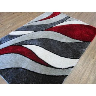 Shop Abstract Red Gray Modern Hand Tufted Shag Area Rug
