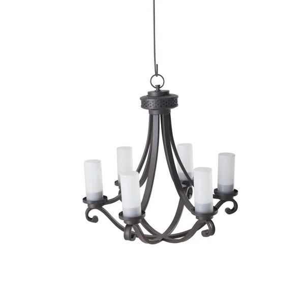 Sunjoy Flint 6 Light Battery Ed Led Chandelier With Remote