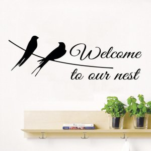 Quote Welcome To Our Nest Birds Vinyl Sticker Love Home Interior Decor Dove Art Murals Sticker Decal size 22x35 Color Black