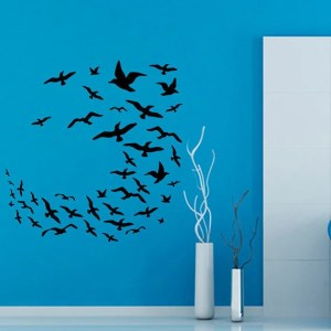 Many Birds Flying Sea Gulls Home Decor Wall Art Murals Living Room Interior Design Vinyl Sticker Decal size 48x48 Color Black