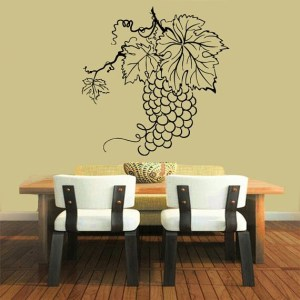 Wall Decor Floral Grapevine Grape Vinyl Decal Sticker Home Decor Art Murals Interior Design Sticker Decal size 22x22 Color Black