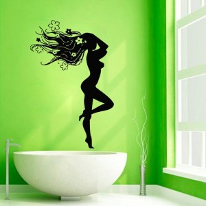 Nude Girl Hot Model Hairdressing Beauty Salon Spa Home Vinyl Sticker Art Mural Wall Decor Sticker Decal size 22x26 Color Black