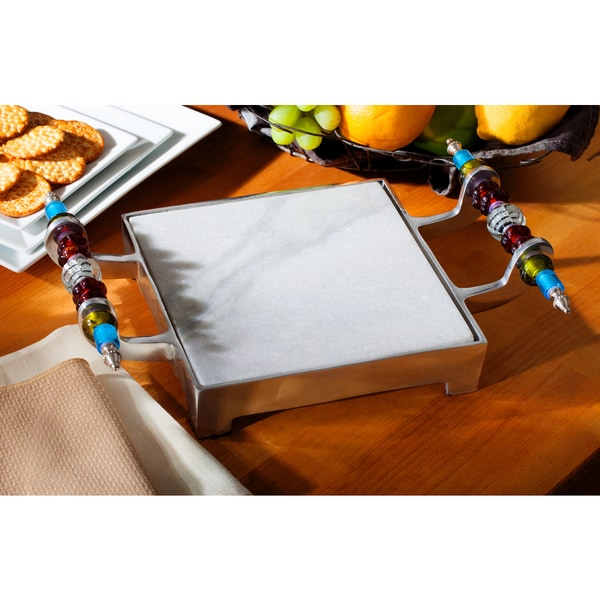Shop Beaded Marble Cheese Serving Tray