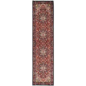Ecarpetgallery Dark Red/Multicolor Wool Royal Heriz Geometric-pattern Hand-knotted Runner Rug (2'6 x 10'2)