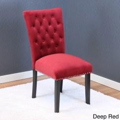 Red Tufted Dining Chair Baby Feeding High In Sri Lanka Velvet Room Ideas