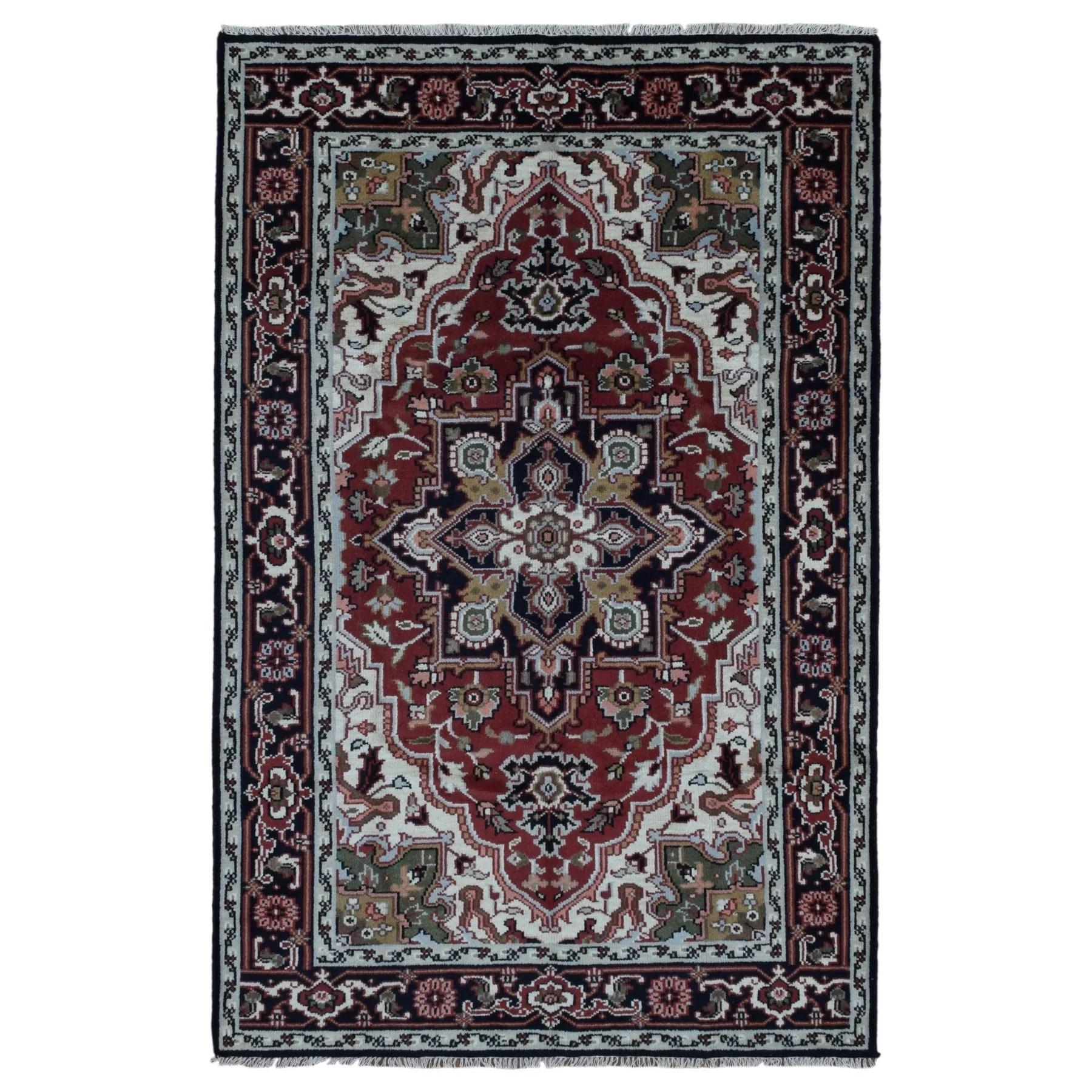 FineRugCollection Handmade Heriz Red Wool Oriental Rug