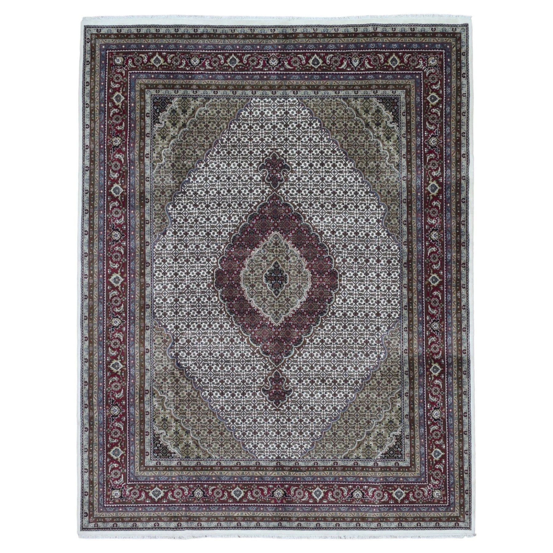 FineRugCollection Handmade Mahi Tabriz Wool Oriental Rug With Silk Flowers
