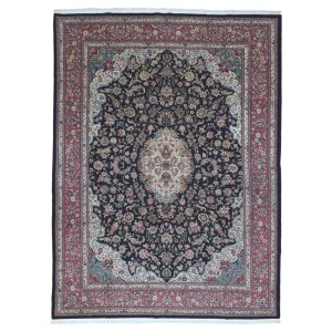 FineRugCollection Handmade Large Fine Tabriz With Silk Flowers Black Oriental Rug