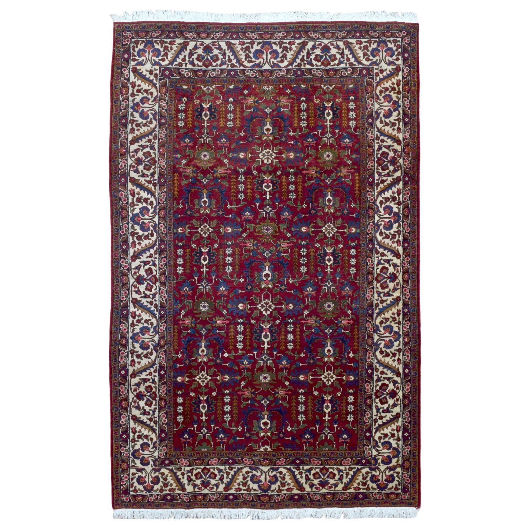 FineRugCollection Handmade Semi-Antique Persian Heriz Red Wool Oriental Rug (7'3 x 11'6)