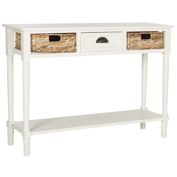 Shop Safavieh Christa Distressed White Console Table  Free Shipping Today  Overstockcom