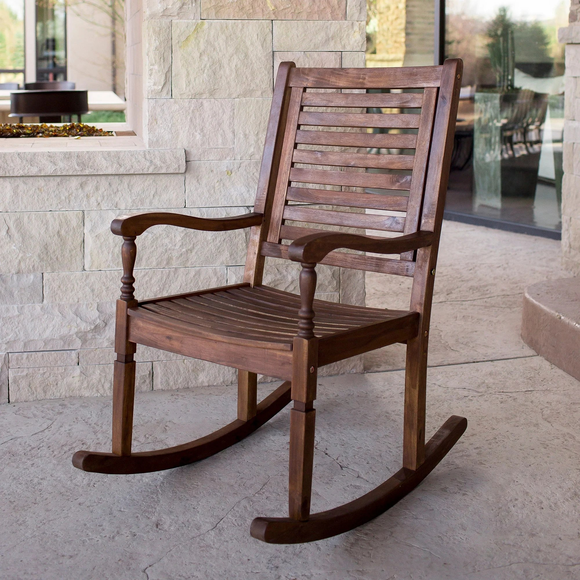 overstock com chairs barcelona chair used shop solid acacia wood rocking patio dark brown