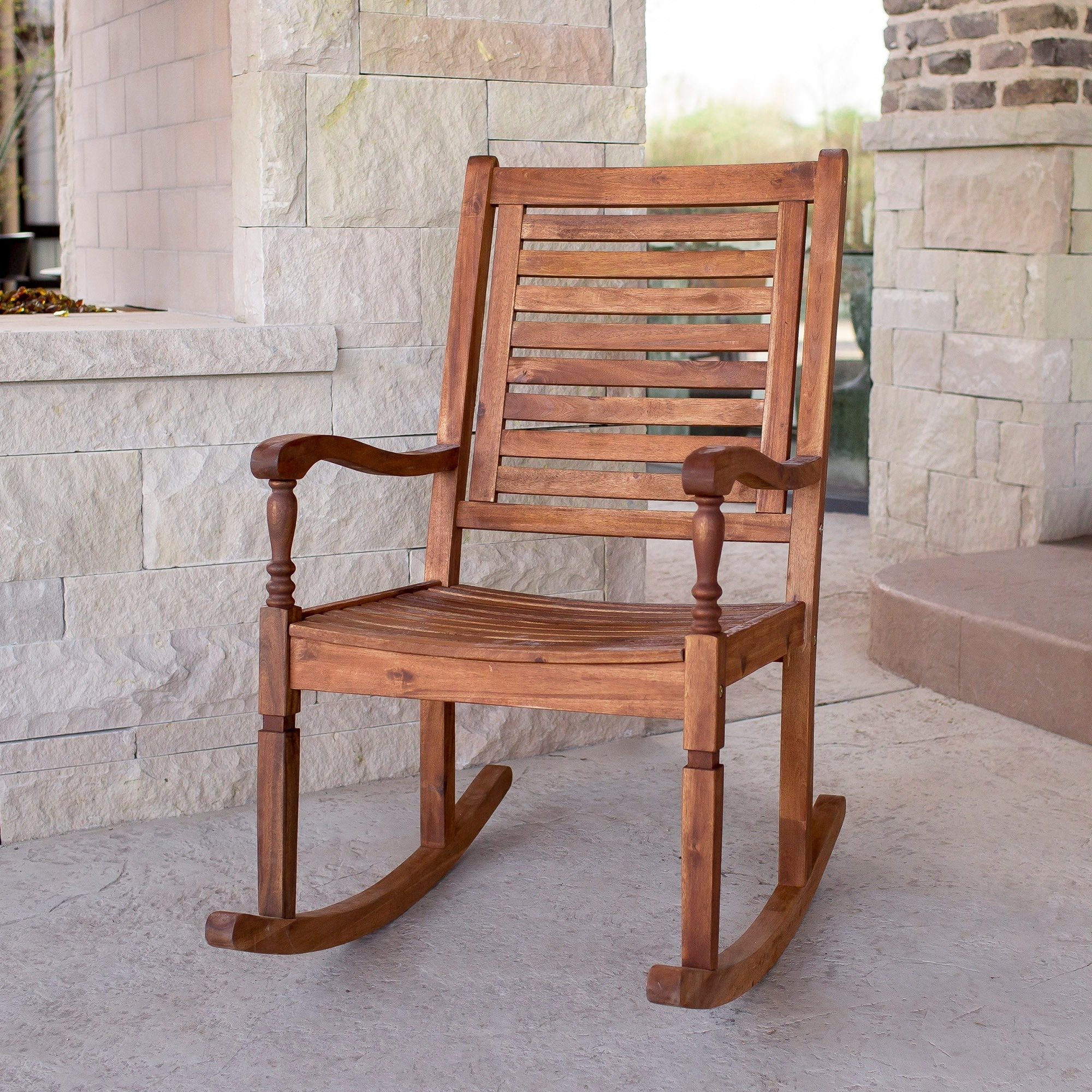 Overstock Rocking Chairs Shop Solid Acacia Wood Rocking Patio Chair Brown Free