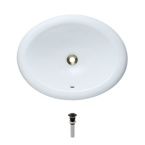 O1917-White Overmount Porcelain Vanity Bowl with Pop-Up Drain