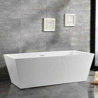Vanity Art White Acrylic 59 Inch Freestanding Soaking