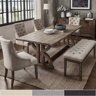 kitchen table with bench and chairs bronze sink buy dining room sets online at overstock com our best paloma salvaged reclaimed pine wood 6 piece rectangle set by inspire q artisan