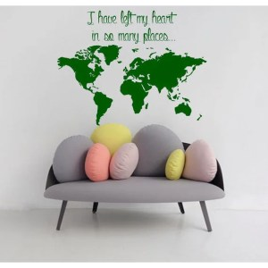 Quote I've Left My Heart In So Many Places Vinyl Sticker Interior Design Art Mural Decor Sticker Decal size 22x26 Color Green