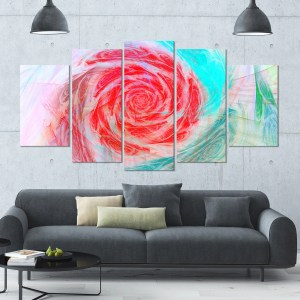 Designart 'Mysterious Abstract Rose' Modern Floral Canvas Art - 60x32 5 Panels - Multi-color