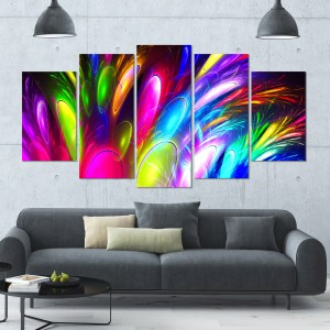 Designart 'Mysterious Psychedelic Design' Large Abstract Canvas Art Print- 60x32 5 Panels