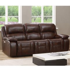 Reclining Sofa Leather Brown Traditional Sofas With Legs Shop Hydeline By Amax Westminster Ii Top Grain Power Articulating Headrest