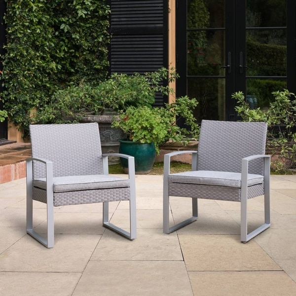 wicker patio chair cushions iron glides shop corvus alsace grey chairs with set of 2