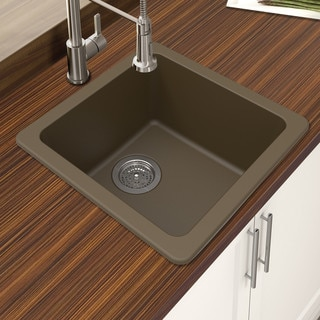 brown kitchen sink outdoor sets shop winpro mocha granite quartz 16 644x 644 x 8 single bowl dual mount bar free shipping today overstock com 14646730