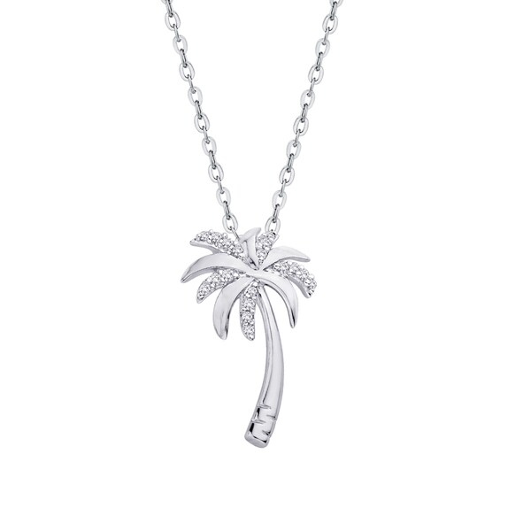 Shop Sterling Silver 1/10ct TDW Palm Tree Diamond Pendant