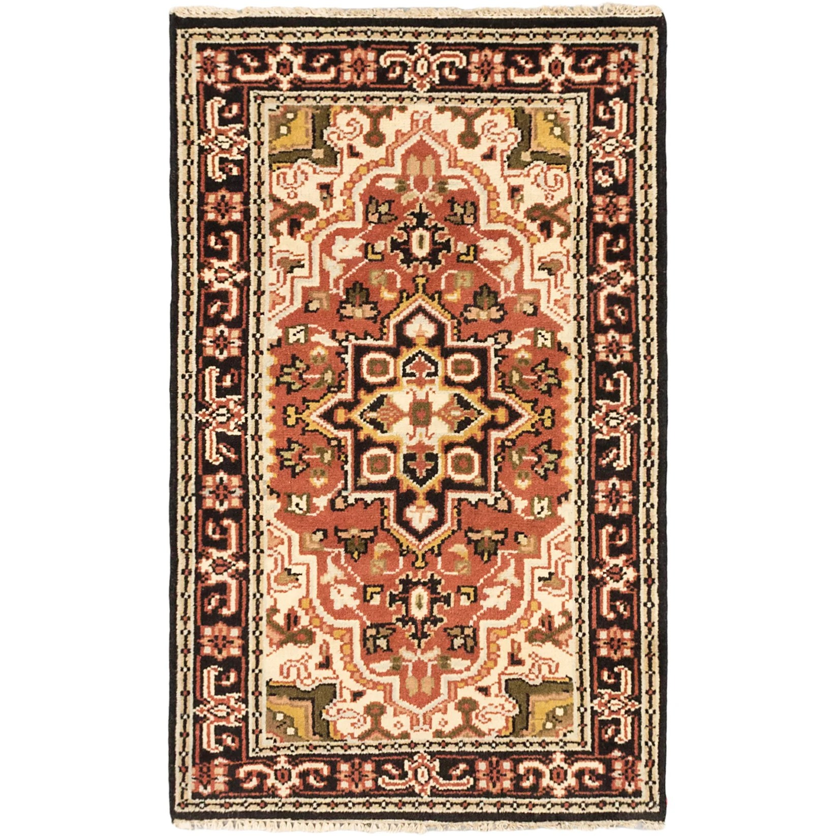 ecarpetgallery Hand-knotted Royal Heriz Brown Wool Rug (3' x 4'11)